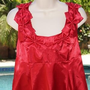 Allison Taylor Red Sleeveless Bow Detail Tunic Top